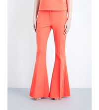 Victoria Beckham Flared Stretch Wool Trousers Hot Coral