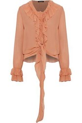 Love Sam Ruffle Trimmed Chiffon Blouse Pastel Orange