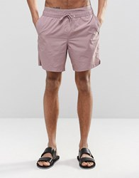 Asos Mid Length Swim Shorts In Pink With Double Waistband Pink