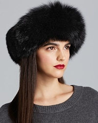 Surell Fox Fur Collar Headband Black