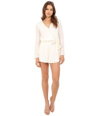Brigitte Bailey Priya Long Sleeve Romper With Back Lace Detail Cream Women's Jumpsuit And Rompers One Piece Beige