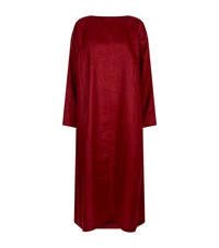 Eskandar Long Linen Tunic Dress Red