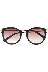 Le Specs Last Dance Round Frame Acetate And Gold Tone Sunglasses Black