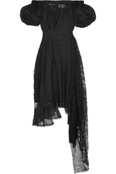 Preen By Thornton Bregazzi Nokomis Off The Shoulder Embroidered Chiffon And Lace Dress Black