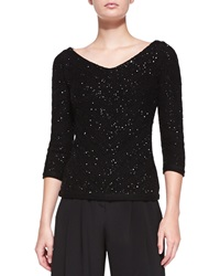 Carolina Herrera V Neck Sequined Chevron Sweater