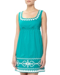 Love Moschino Floral And Heart Rope Embroidered Dress Conely Emerald Green