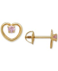 Macy's Cubic Zirconia Open Heart Screwback Stud Earrings Yellow Gold