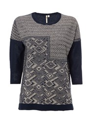 White Stuff Ink Pen Jaquard Knit Top Navy