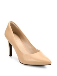 Cole Haan Amelia Grand Leather Point Toe Pumps Black Leather Maple Sugar Leather