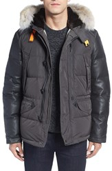 Parajumpers Men's 'D Hole' Leather Sleeve Down Coat With Faux Fur And Genuine Coyote Fur Trim