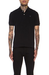 Comme Des Garcons Play Small Black Emblem Cotton Polo In Black