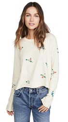 The Great Great. Crop Tee With Floral Embroidery Washed White