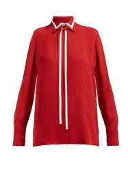 Valentino Striped Silk Georgette Blouse Red Multi