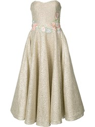 Marchesa Notte Floral Embroidery Metallic Grey Dress