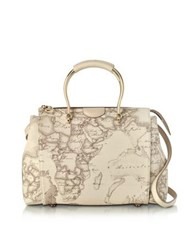 Alviero Martini 1A Classe Medium Princess Geo Safari Print Satchel Bag W Cream Leather Details