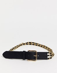 Glamorous Black Belt With Multi Row Chain Detail