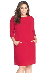Tahari By Arthur S. Levine Plus Size Women's Seamed A Line Dress Red