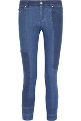 Alexander Mcqueen Patchwork Cropped Mid Rise Skinny Jeans Blue