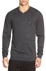 Men's Volcom 'Upstand' Slim Fit V Neck Sweater Black