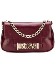 Just Cavalli Logo Plaque Clutch Bag Red