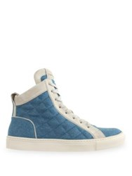 Balmain Quilted Denim And Suede Hi Top Sneakers Blue Jean