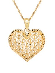 Lord And Taylor 14K Yellow Gold Floral Heart Pendant Necklace