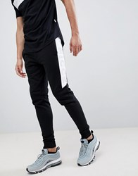 Nicce London Colt Skinny Joggers With Logo Panel Detail Black