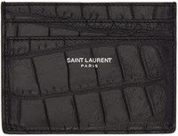 Saint Laurent Black Classic Croc Embossed Card Holder