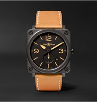 Bell And Ross Br S Heritage 39Mm Ceramic Leather Watch Tan