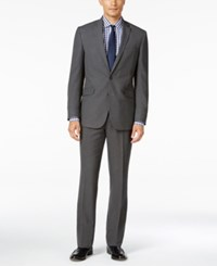 Kenneth Cole Reaction Men's Slim Fit Grey Stripe Suit