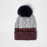River Island Mens Red And Grey Twist Knit Bobble Hat