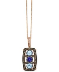 Le Vian Chocolate Deco Estate Aquamarine 7 8 Ct. T.W. Tanzanite 1 2 Ct. T.W. And Diamond 5 8 Ct. T.W. Pendant Necklace In 14K Rose Gold Multi