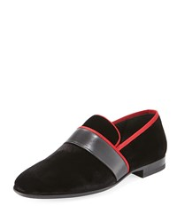 Magnanni Men's Velvet Formal Slipper Black Red