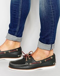 Timberland Classic Leather Boat Shoes Blue