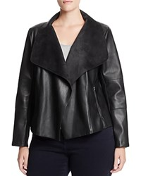 Bagatelle Plus Draped Faux Leather Jacket Plum
