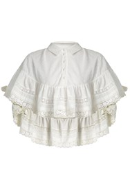 Red Valentino Frill Detail Cotton Blouse Ivory