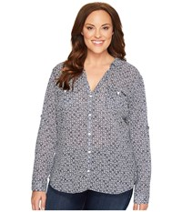 Columbia Plus Size Sun Drifter Long Sleeve Shirt Collegiate Navy Anchors Away Women's Long Sleeve Button Up Gray