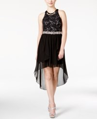 City Triangles City Studios Juniors' Embellished Lacy High Low Dress Black Silver