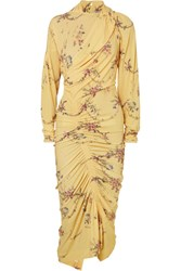 Preen By Thornton Bregazzi Louise Ruched Floral Print Stretch Crepe Dress Yellow