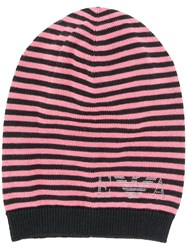 Emporio Armani Logo Beanie Pink And Purple