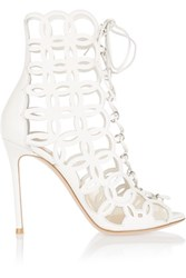 Gianvito Rossi Cutout Leather Sandals White