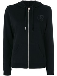 Diesel Chest Print Zipped Hoodie Black