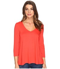 Lilla P 3 4 Sleeve Pleat Back V Neck Poppy Women's Clothing Red