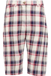 Etoile Isabel Marant Uriel Checked Linen And Cotton Blend Twill Shorts Red