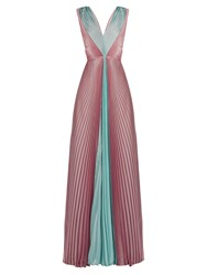 Luisa Beccaria V Neck Pleated Chiffon Dress Pink Multi