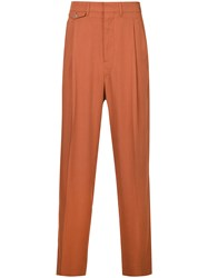 Christophe Lemaire High Waisted Loose Fit Trousers Yellow And Orange