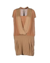 Pinko Black Short Dresses Camel