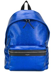 Saint Laurent Metallic City Backpack Blue