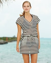 Calvin Klein Striped Tunic Cover Up Women's Swimsuit Black Milk
