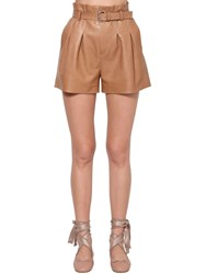 Red Valentino High Waist Belted Leather Shorts Camel